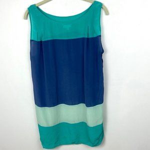 Urban Outfitters Silk Colorblock Dress Blue Green